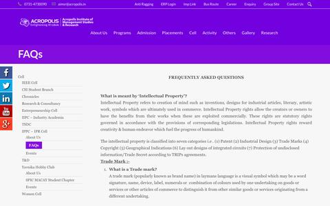 Screenshot of FAQ Page aimsr.ac.in - FAQs | Acropolis Institute of Management Studies & Research - captured Jan. 27, 2017