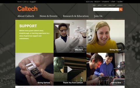 Screenshot of Support Page caltech.edu - Support | Caltech - captured Sept. 18, 2014