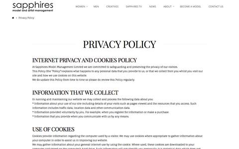 Screenshot of Privacy Page sapphiresmodel.com - Privacy Policy | Sapphires Model and Artist Management - captured Oct. 4, 2017