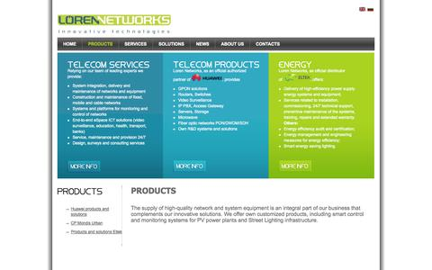 Screenshot of Products Page lorennetworks.com - Products - captured Oct. 3, 2014