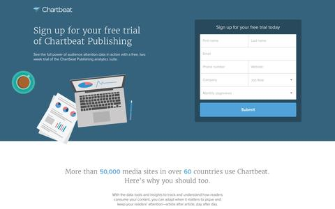 Screenshot of Landing Page chartbeat.com - Chartbeat Free Trial | Real-time Web Analytics - captured May 20, 2016