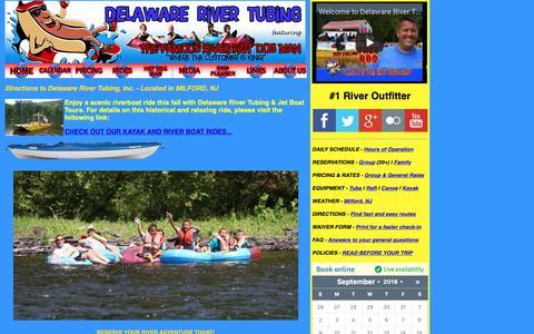Screenshot of Maps & Directions Page delawarerivertubing.com - Delaware River Tubing, Rafting, Canoeing, and Kayaking - Directions - captured Sept. 27, 2018