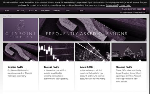 Screenshot of FAQ Page citypointtrading.com - Citypoint Trading FAQs - captured Nov. 6, 2016