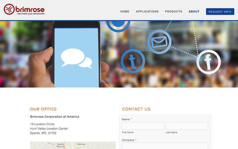 Screenshot of Contact Page brimrose.com - Contact Brimrose — Brimrose Corp. - captured Oct. 11, 2017