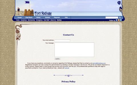 Screenshot of Privacy Page fortrefuge.com - Fort Refuge: About Us - captured Nov. 4, 2014