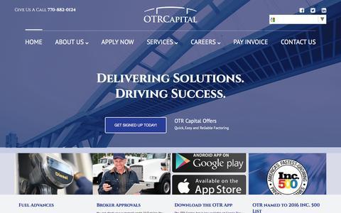 Screenshot of Home Page otrcapital.com - Best Truck Factoring - OTR Capital - captured Dec. 18, 2016