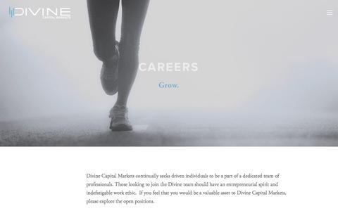 Screenshot of Jobs Page divinecapital.com - Careers — Divine Capital Markets - captured Oct. 12, 2017