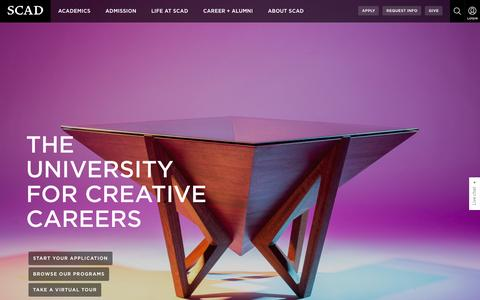 Screenshot of Home Page scad.edu - The University for Creative Careers | SCAD - captured Feb. 3, 2016