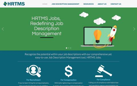 Screenshot of Home Page hrtms.com - HRTMS.com - Job Description Management Software | HRTMS Jobs - captured Dec. 6, 2015