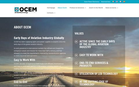 Screenshot of About Page ocem.com - About Ocem - Ocem Airfield Lighting Technology - captured Nov. 2, 2017