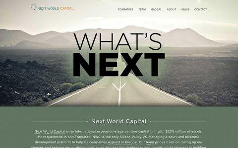 Screenshot of Home Page nextworldcap.com - Next World Capital | Next World Capital - captured Oct. 7, 2014