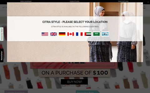 Screenshot of Home Page citrastyle.com - Muslim Fashion Clothing: Hijabs, Harem Pants & More   Citra Style   INTL - captured Jan. 26, 2015