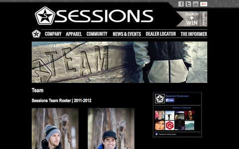 Screenshot of Team Page sessions.com - Sponsored SESSIONS Snowboard & Ski Team Riders 2011-2012 - captured Oct. 27, 2014