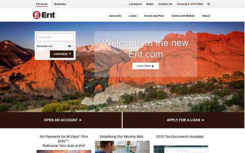 Screenshot of Home Page ent.com - Ent Credit Union - captured Jan. 29, 2016