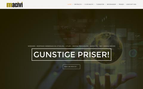 Screenshot of Home Page macivi.no - MACIVI | WEBSIDER – RESPONSIV WEBDESIGN OG UTVIKLING – UTLEIE – GRAFISK PRODUKSJON – WEBHOTEL – SEO – SOSIALE MEDIER - captured Oct. 10, 2015