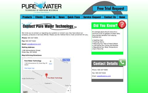 Screenshot of Contact Page pwtonw.com - Contact Pure Water Technology of Northeast Wisconsin - captured Nov. 15, 2016
