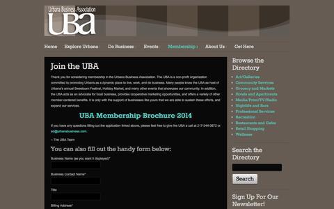 Screenshot of Signup Page urbanabusiness.com - Join the UBA - Urbana Business AssociationUrbana Business Association - captured Oct. 9, 2014