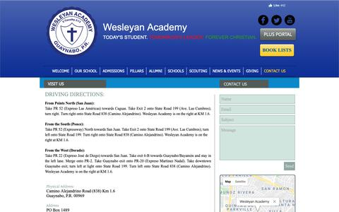 Screenshot of Contact Page Maps & Directions Page wesleyanacademy.info - wesleyan-academy | CONTACT US - captured Oct. 28, 2018