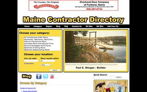 Screenshot of Home Page mainecontractordirectory.com - Maine Contractor Directory-Maine Builders, ME Builders, ME Contractors - captured Jan. 27, 2015