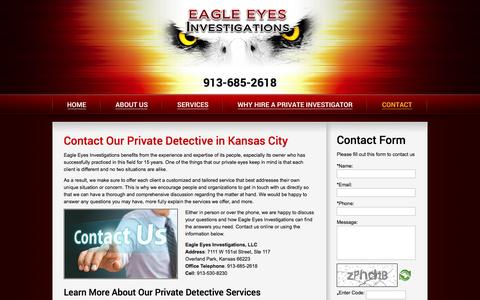 Screenshot of Contact Page eagleeyesinvestigations.com - Private Detective In Kansas City | Eagle Eyes Investigations - captured Sept. 29, 2014