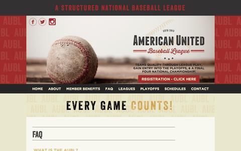 Screenshot of FAQ Page aubl.com - FAQ | American United Baseball League | AUBL - captured Sept. 30, 2014