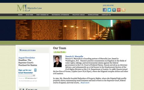 Screenshot of Team Page marzulla.com - Marzulla Law Lawyers Court of Federal Claims Litigation Attorneys Nancie, Roger Marzulla Washington, DC  | Marzulla Law - captured Nov. 27, 2016