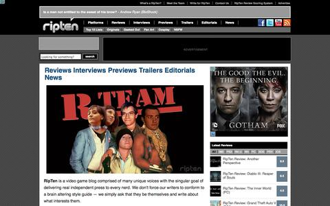 Screenshot of About Page ripten.com - Reviews Interviews Previews Trailers Editorials News | RipTen Videogame Blog - captured Sept. 19, 2014