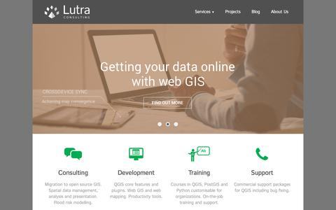 Screenshot of Home Page lutraconsulting.co.uk - Lutra Consulting - Lutra Consulting - captured July 24, 2018