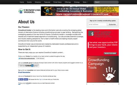 Screenshot of About Page crowdfundinsider.com - About Us   Crowdfund Insider - captured Sept. 18, 2014