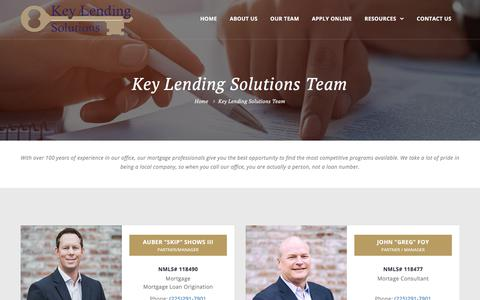 Screenshot of Team Page keylendingsolutions.com - Key Lending Solutions Team - captured Sept. 20, 2018