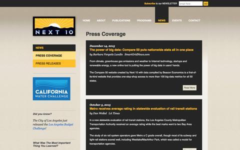 Screenshot of Press Page next10.org - Press Coverage | Next 10 - captured Jan. 12, 2016