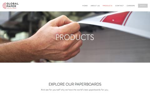 Screenshot of Products Page globalpapersolutions.com - PRODUCTS — Global Paper Solutions - captured Jan. 29, 2016