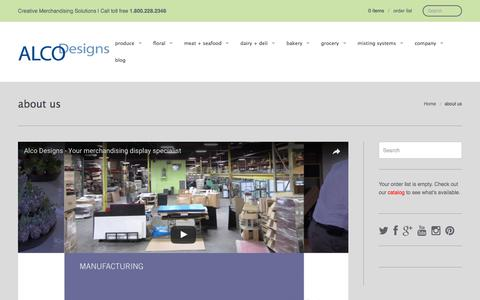 Screenshot of About Page alcodesigns.com - about us | alco designs - captured May 28, 2017