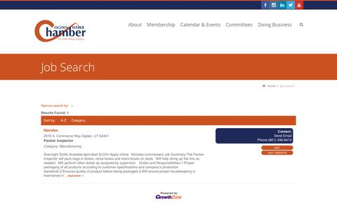 Screenshot of Jobs Page ogdenweberchamber.com - Job Search - captured Nov. 19, 2018