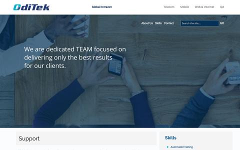 Screenshot of Support Page oditeksolutions.com - Support - OdiTek Solutions     Support                                   OdiTek Solutions is committed to provide exceptional customer support to each and every customer. Our technical support engineers are available on-site, and for extended busines - captured Nov. 11, 2017