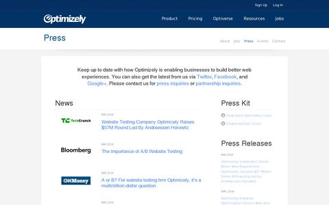 Screenshot of Press Page optimizely.com - Optimizely: Press - captured July 20, 2014