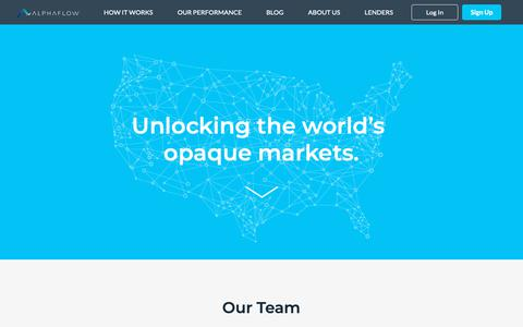 Screenshot of About Page alphaflow.com - Who We Are: Diversified Investment Advisors At AlphaFlow - captured Nov. 2, 2018