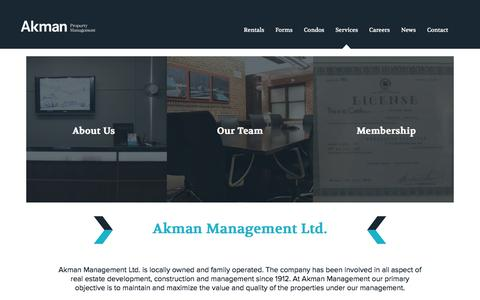 Screenshot of Services Page akmanmanagement.ca - Services | Akman Property Management - captured Dec. 24, 2015