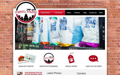 Screenshot of Home Page metromuttsdc.com - Pet Supplies and Services, Capitol Hill, Washington, DC | Metro Mutts - captured Jan. 26, 2015