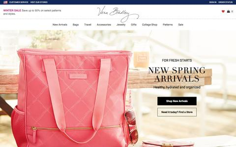 Screenshot of Home Page verabradley.com - Bags, Handbags, Purses, Backpacks | Vera Bradley - captured Jan. 12, 2016