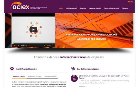 Screenshot of Home Page ociex.com - Ociex - Consultoría y comercio exterior - captured Sept. 22, 2014