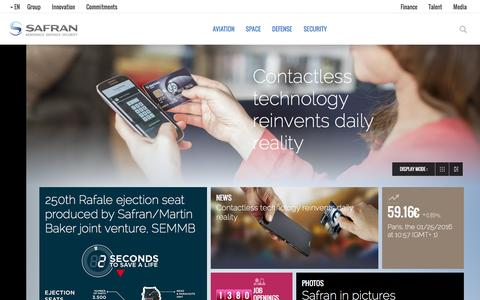 Screenshot of Home Page safran-group.com - Safran is a leading international high-technology group. - captured Jan. 25, 2016