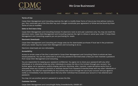 Screenshot of Terms Page cdmc.info - Terms of Use - CDMC Carpe Diem Management and Consulting - captured Oct. 25, 2016