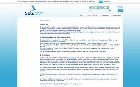 Screenshot of Terms Page sata.pt - Terms of Use | SATA - captured Dec. 16, 2018