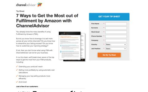 Screenshot of Landing Page channeladvisor.com - 7 Ways to Get the Most out of Fulfilment by Amazon - captured April 6, 2017
