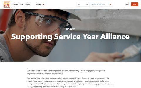 Screenshot of Support Page serviceyear.org - Donate - Service Year - captured Nov. 26, 2016