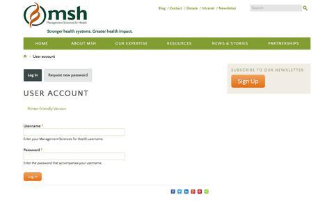 Screenshot of Login Page msh.org - User account   Management Sciences for Health - captured Jan. 20, 2020