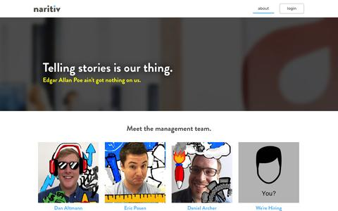Screenshot of About Page naritiv.com - Naritiv - the first marketing and analytics platform for Snapchat - captured Nov. 2, 2014
