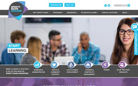 Screenshot of Home Page sprottshaw.com - Sprott Shaw College | Learning With Purpose Since 1903 Sprott Shaw College - captured Dec. 3, 2016