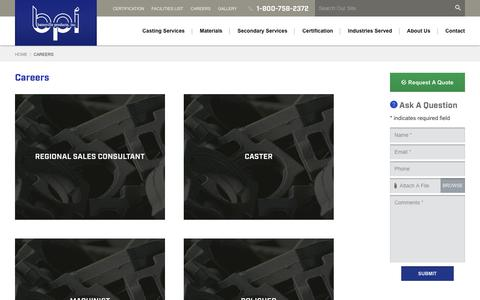 Screenshot of Jobs Page batesvilleproducts.com - Aluminum Casting Careers - Permanent Mold Casting Jobs | Batesville Products, Inc. Indiana - captured Oct. 5, 2018